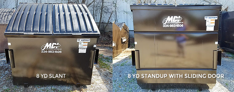 8 cubic yard MDI front load dumpster on site